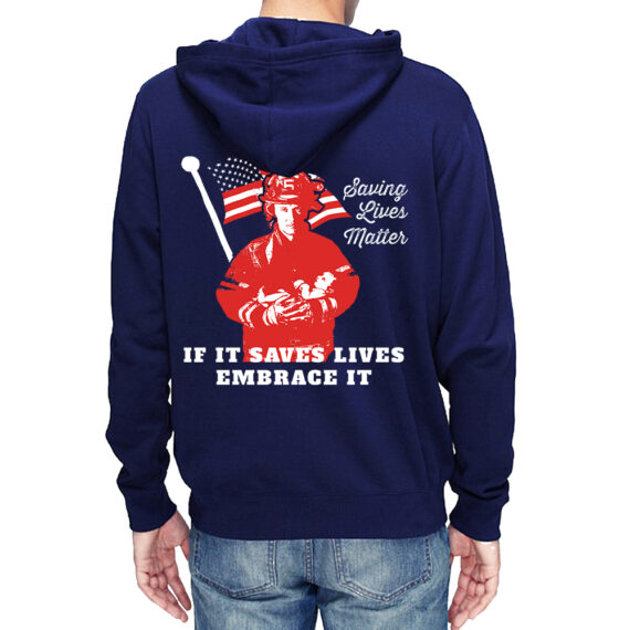 Saving Lives Matter Nvy Hoodie Men – Back
