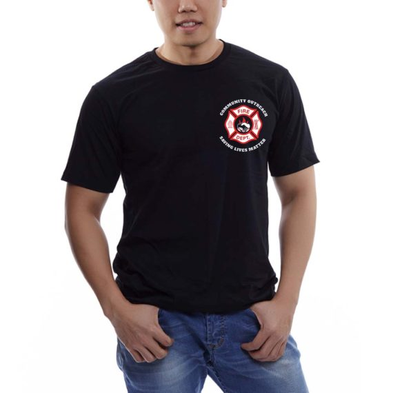 Saving Lives Black Tee Men – Front