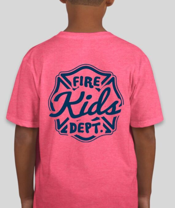 Fire Kids Heather Hot Pink Mockup – Back
