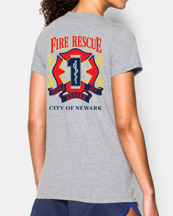 Fire Rescue Ladies Tshirt heather gray back