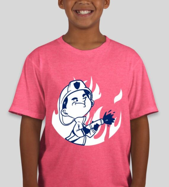 Kids Fire Safety Heather Hot Pink Mockup – Front