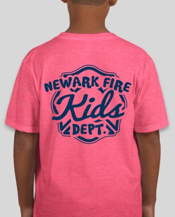 Newark Fire Kids Heather Hot Pink Mockup – Back